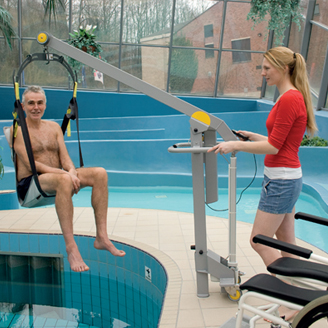 Dolphin lifts to showcase handi move hoists at naidex national 2013 prunderground for Hydraulic chair lift for swimming pool