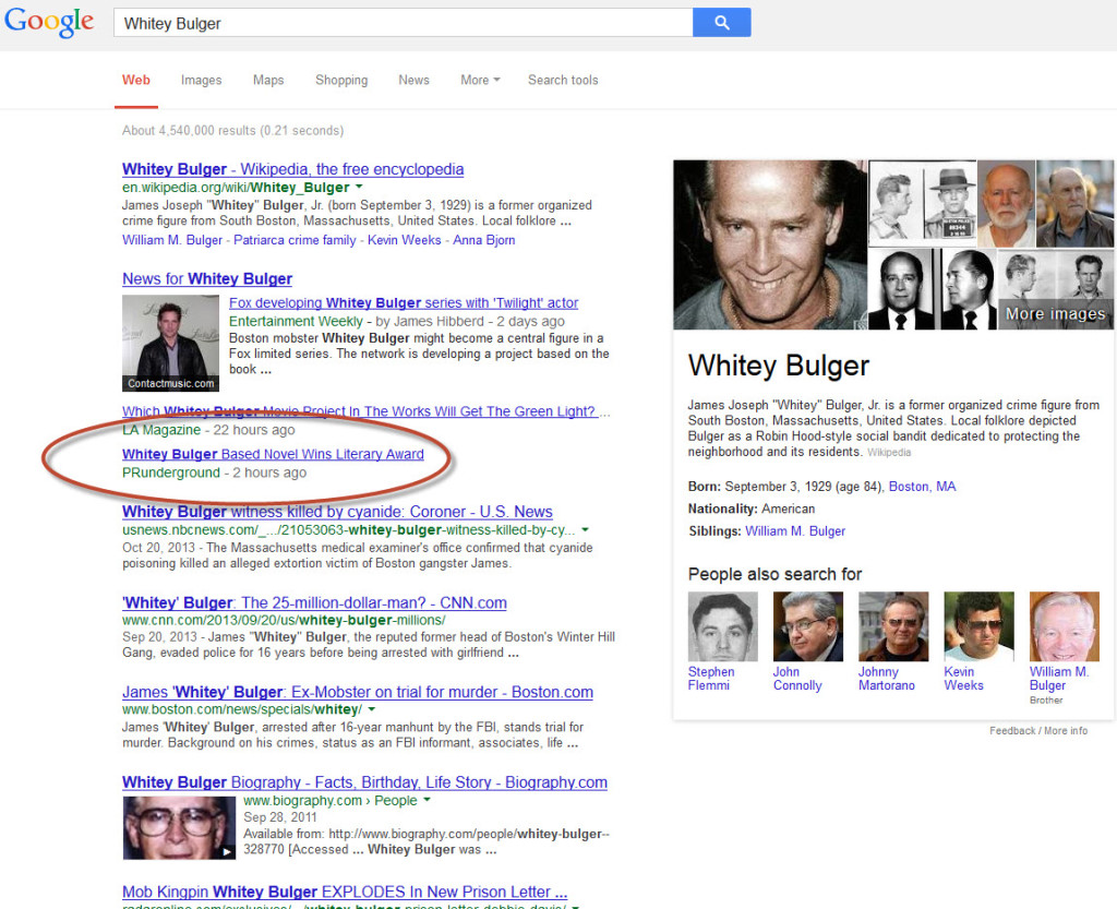 whitey bulger google 1024x833 Book marketing using a social media press release on PR Underground