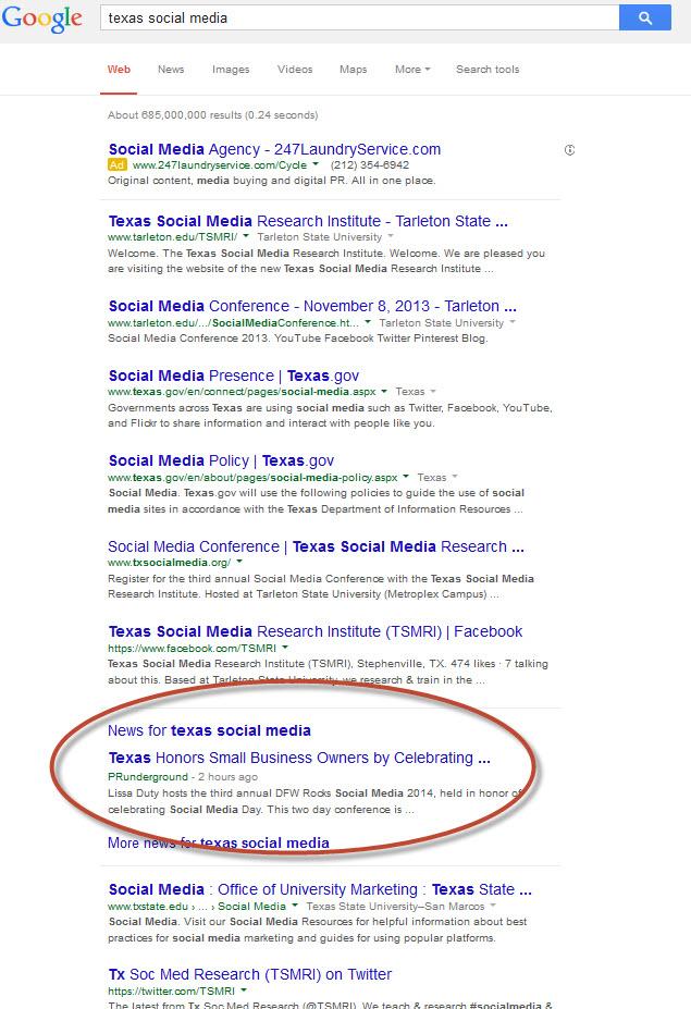 texas social media google
