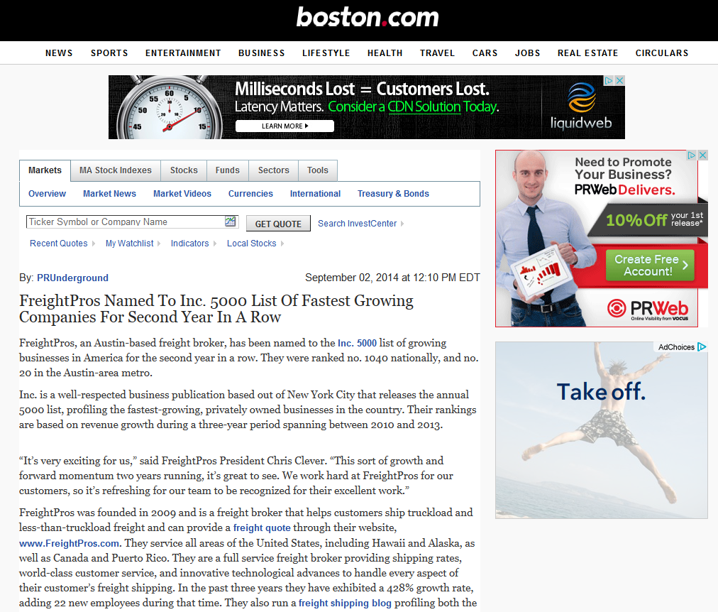 FreightPros Named To Inc. 5000 List Of Fastest Growing Companies For Second Year In A Row - Boston.com 2014-09-02 12-55-46
