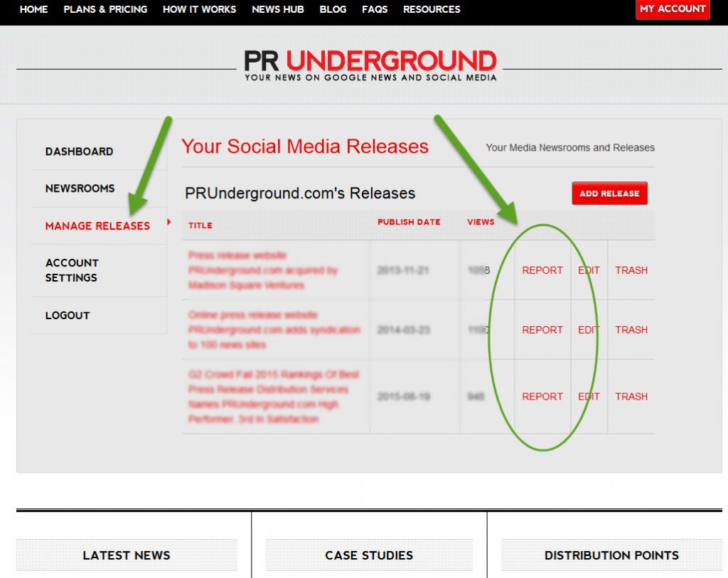PRunderground report screenshot